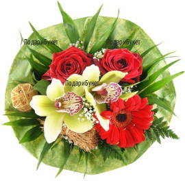 Delivery of bouquets of orchids and roses