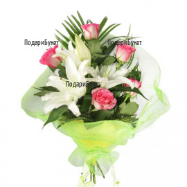 Flower delivery - bouquets of roses. lily and greenery