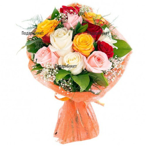 Frower delivery - bouquet of multicoloured roses and greenery