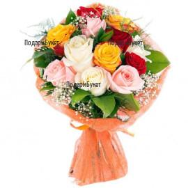 Доставка на букет от разноцветни рози и зеленина