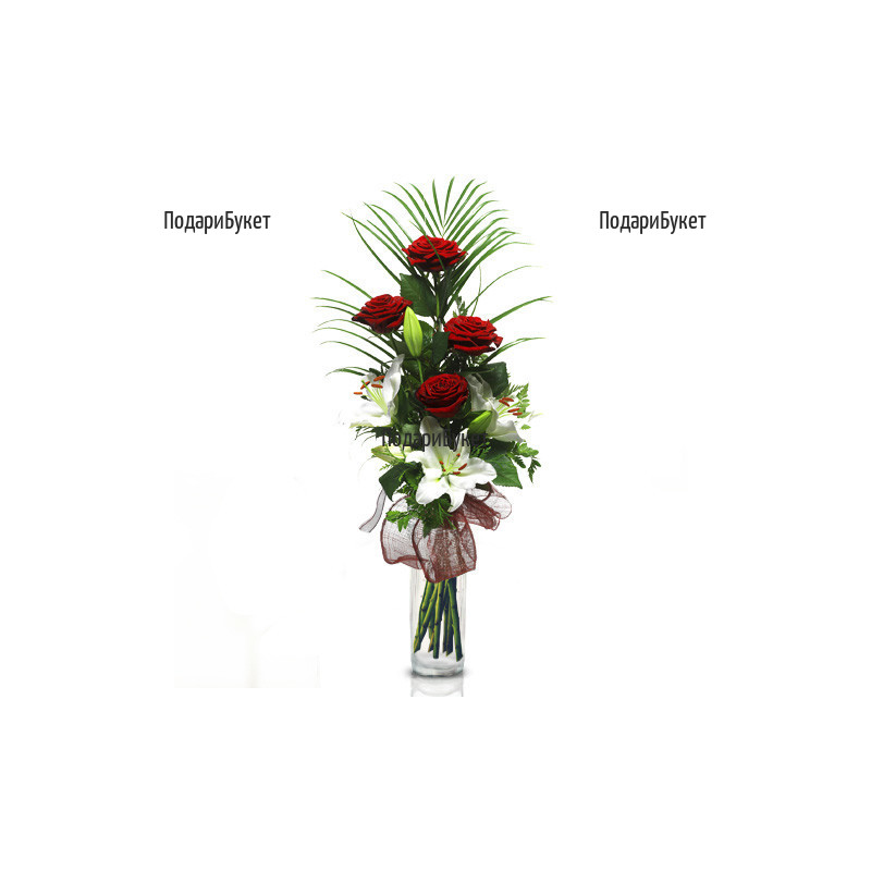 Flower delivery - bouquet of lily and roses
