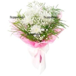 Send bouquet of white chrysanthemums to Sofia, Plovdiv, Varna, Burgas