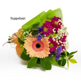 Send a bouquet of gerberas and chrysanthemums