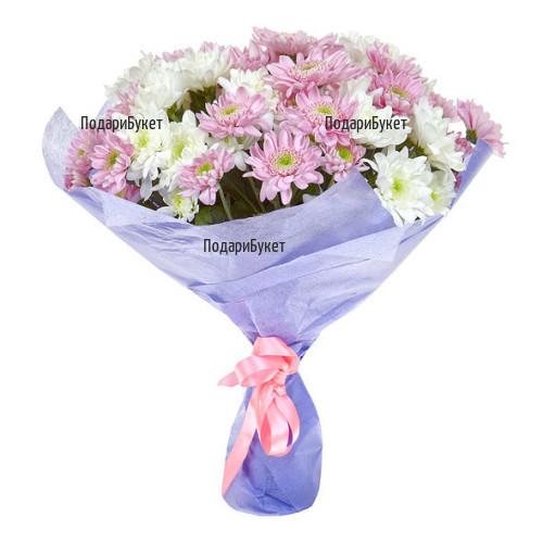 Доставка на букет от розови хризантеми в София, Пловдив, Варна, Бургас