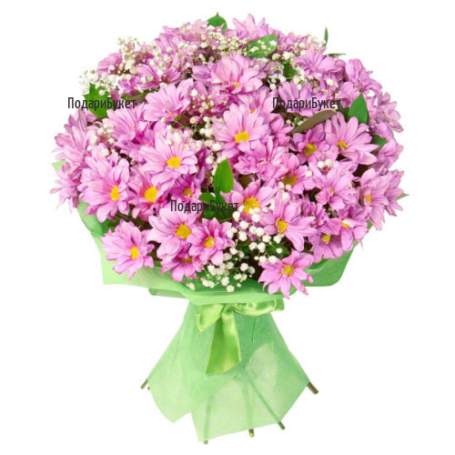 Flower delivery - bouquet of pink chrysanthemums