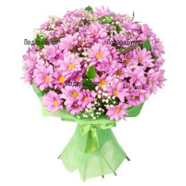 Доставка на цветя - букет от розови хртизантеми
