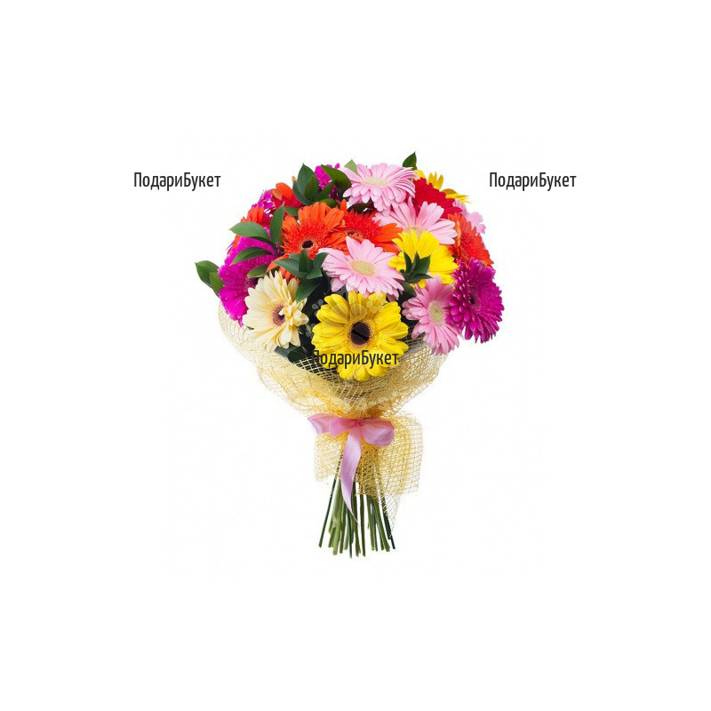 Send bouquet of gerberas and greenery to Sofia, Plovdiv, Varna