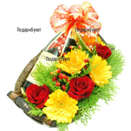 Flower delivery - send a basket with flowers and champagne to Sofia, Plovdiv, Varna