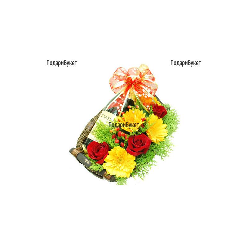 Доставка на цветя - кошница с цветя и шампанско в София,Пловдив, Варна