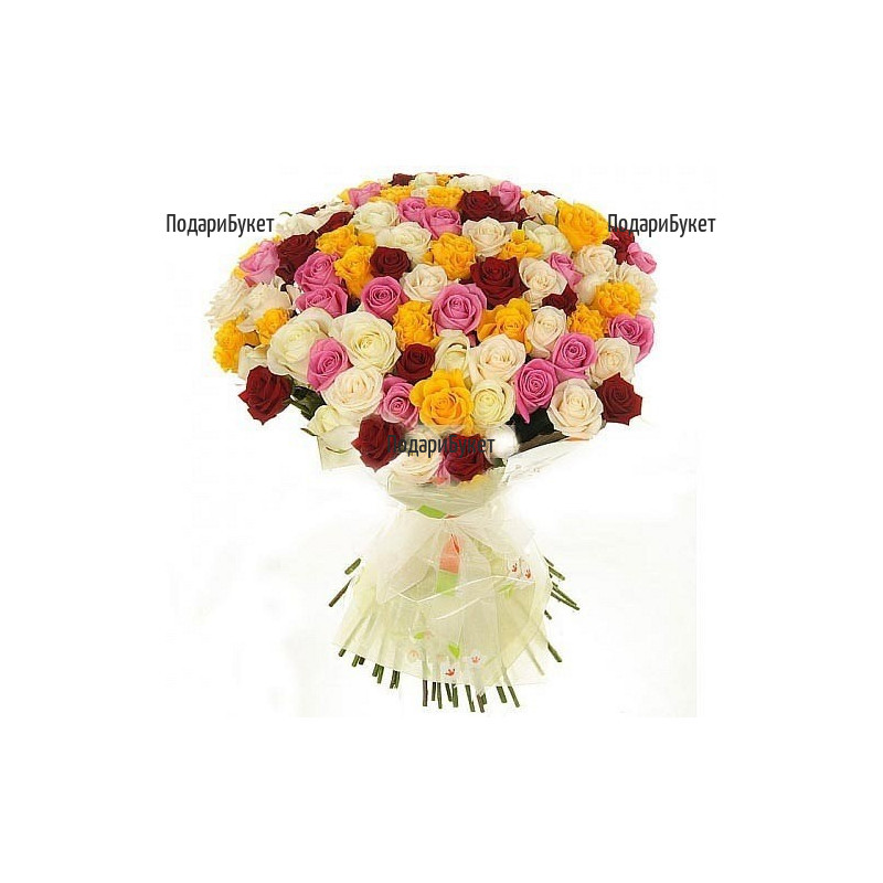 Send 101 multicoloured roses to Sofia, Plovdiv, Varna, Burgas