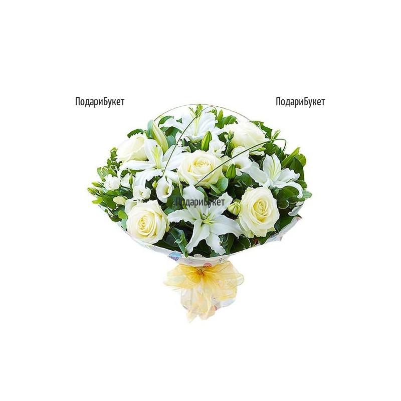 Доставка на букет от лилиуми, еустоми и рози в София, Пловдив, Варна