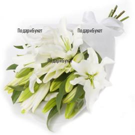 Доставка на цветя - букет от бели лилиуми в София, Пловдив, Варна