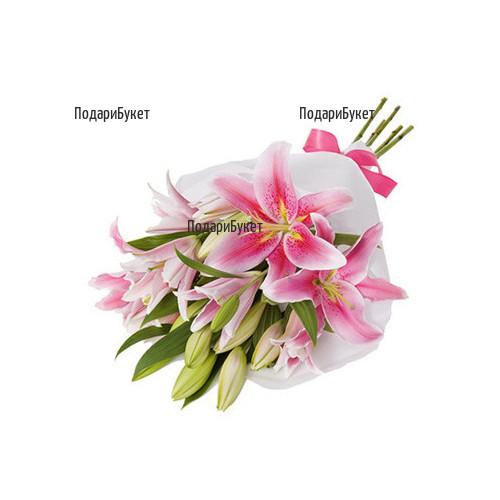 Доставка на букет от розови лилиуми в София, Пловдив, Варна, Бургас