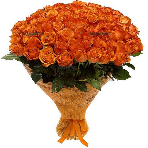 Доставка на 101 оранжеви рози в София, Пловдив, Варна, Бургас