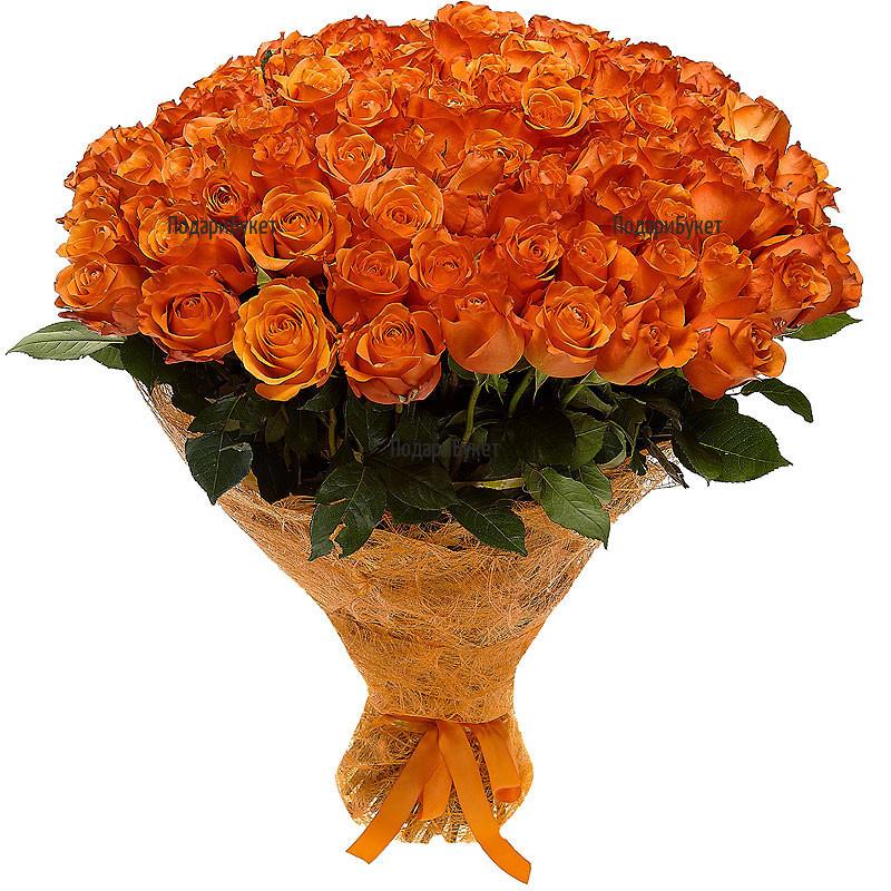 Send 101 orange roses to Sofia, Plovdiv, Varna, Burgas