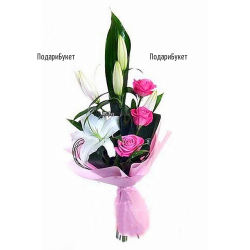 Send bouquet of white flowers and pink roses to Sofia, Plovdiv, Varna