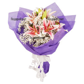 Send bouquets of lilies and gypsophila to Ruse, Haskovo,