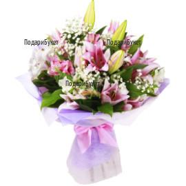 Send bouquet of lilies and alstroemerias to Burgas, Varna, Sofia.
