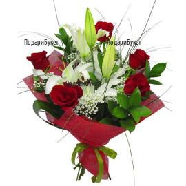 Доставка на романтичен букет от рози и лилиуми в София, Варна, Бургас