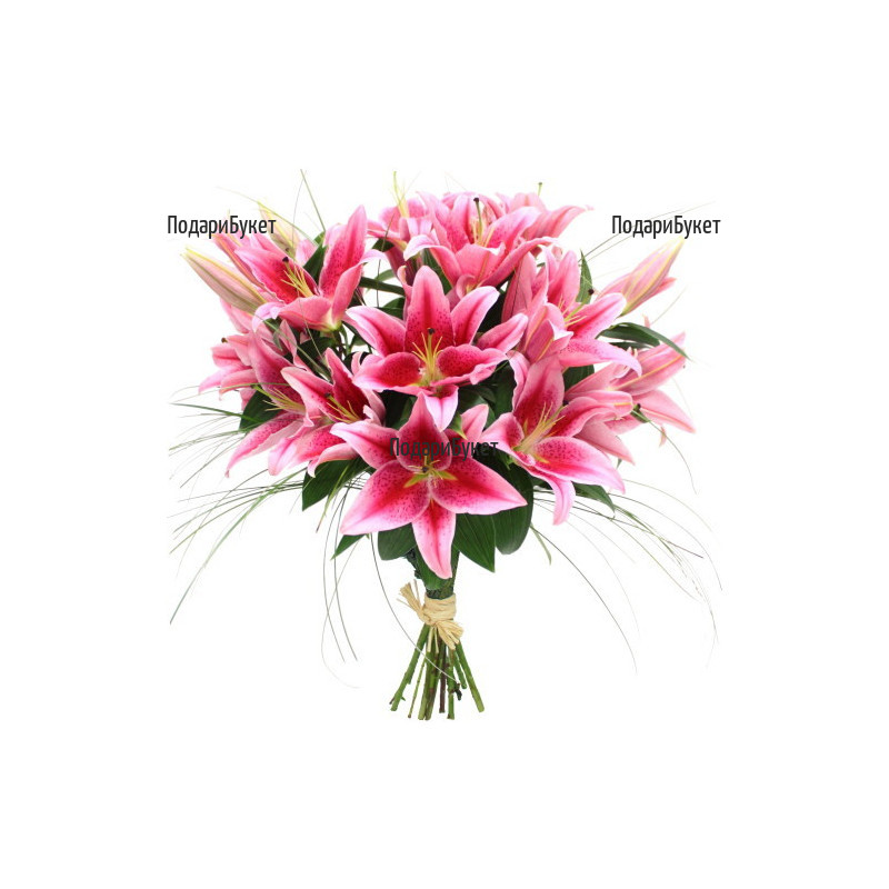 Flower delivery - bouquet of pink lilies to Sofia, Plovdiv, Varna