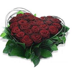 Доставка на сърце от червени рози в София, Пловдив, Варна, Бургас
