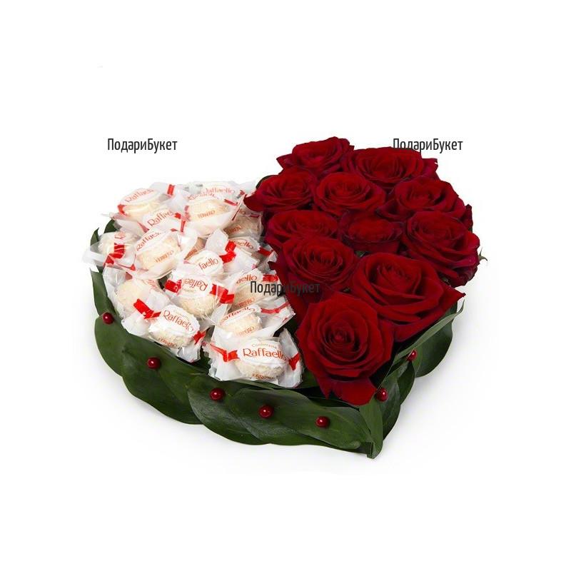 Доставка на сърце от рози и бонбони в София, Пловдив, Варна, Бургас