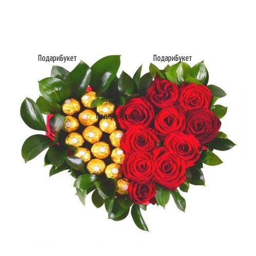 Send heart of roses and  Ferrero Rocher chocolates