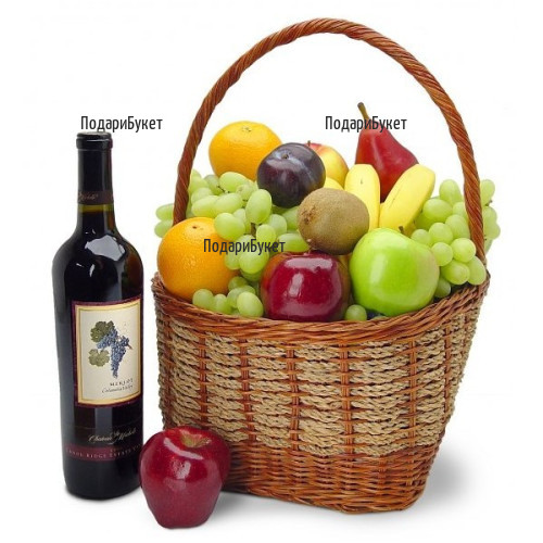 Send a basket with fruits and red wine to Sofia, Plovdiv, Varna