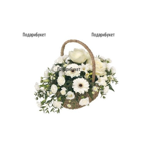 Flower delovery to Sofia - a basket with white flowers and greenery