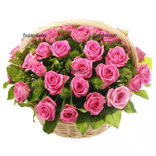 Доставка на кошница с розови рози в София, Пловдив, Варна, Бургас