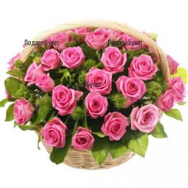 Send basket with pink roses to Sofia, Plovdiv, Varna, Burgas