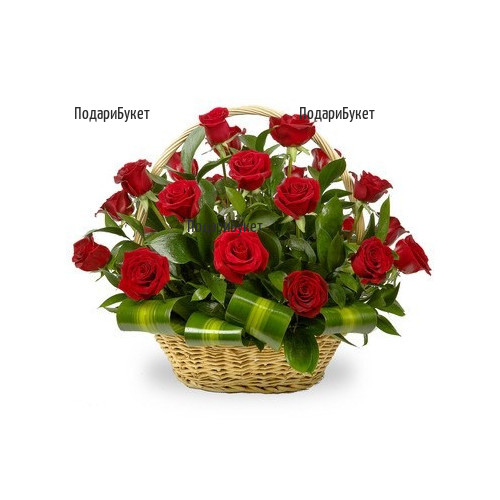 Send romantic basket with roses to Ruse, Pleven, Razlog, Dobrich