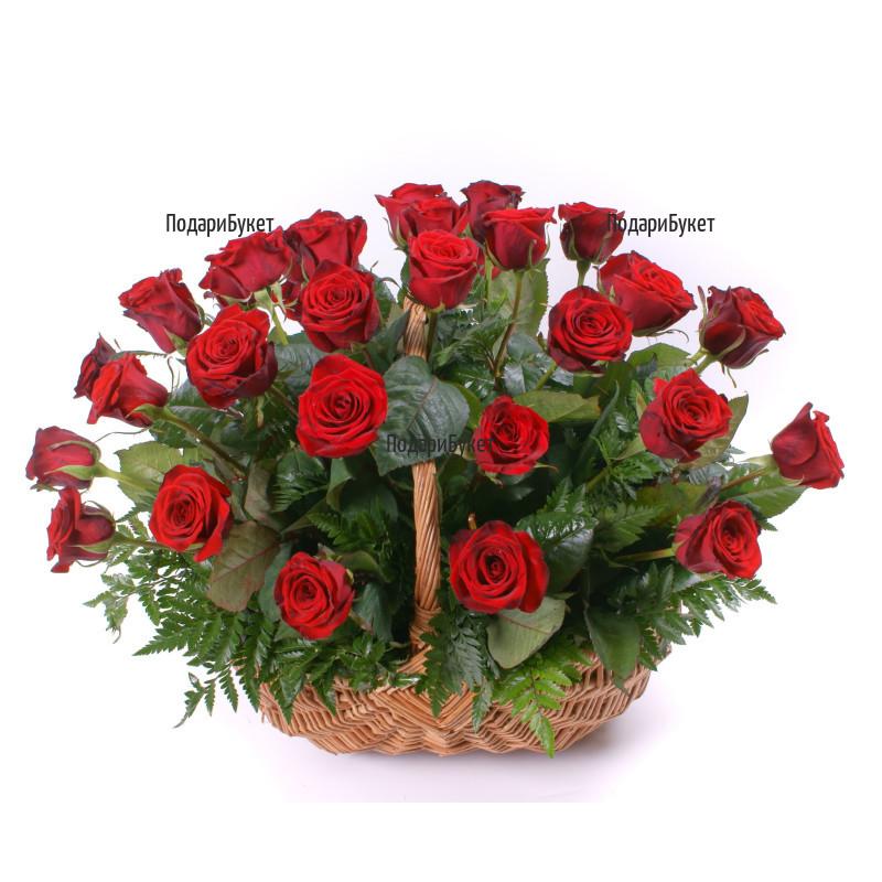 Order online basket with red roses to Sofia, Plovdiv, Varna, Burgas