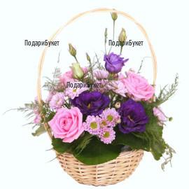 Send basket with pink flowers to Sofia, Plovdiv, Varna, Burgas