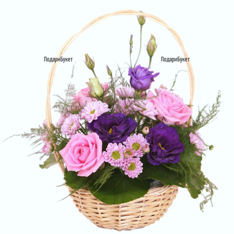 Доставка на кошница с розови цветя в София, Пловдив, Варна, Бургас