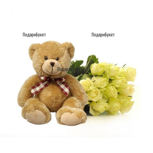 Order bouquet of roses and a Teddy Bear to Sofia, Varna, Burgas