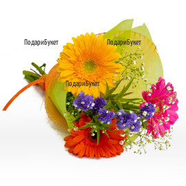 Send a small bouquet of flowers - of multicoloured gerberas.