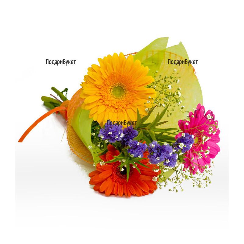 Букетче от три разноцветни гербера