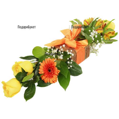 Модерна аранжировка от гербери и рози