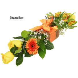 Modern arrangement of gerberas and roses