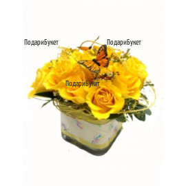 Send arrangements with yellow roses to Sofia, Plovdiv, Varna, Burgas
