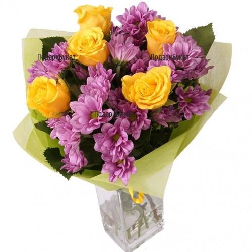 Интернет поръчка на цветя и букет от рози и хризантеми