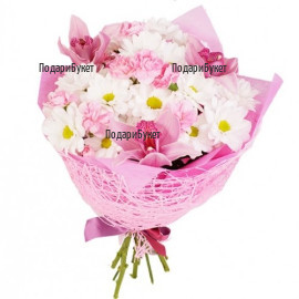 Order online flowers - bouquet of orchids and chrysanthemums
