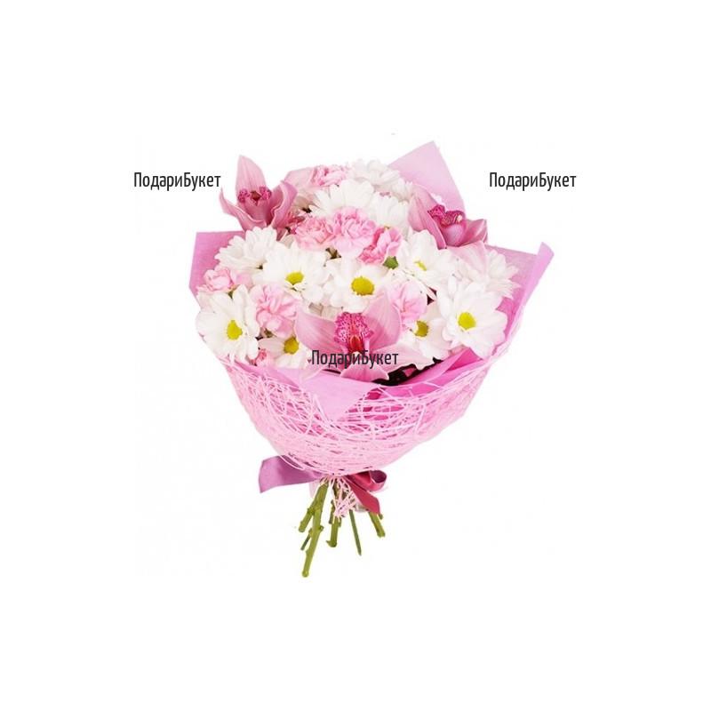 Онлайн поръчка на цветя - букет от орхидеи и хризантеми