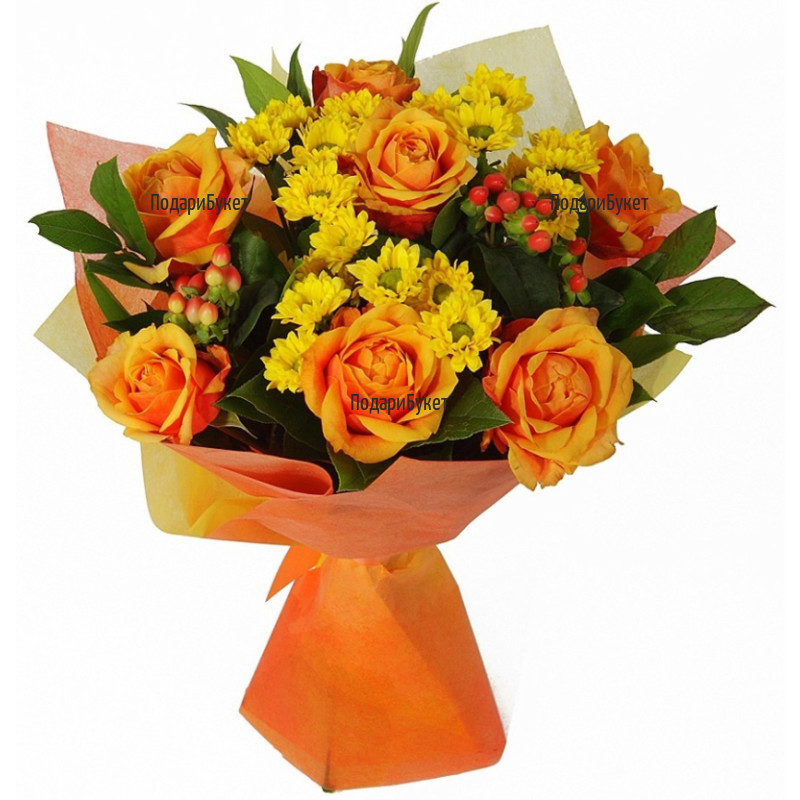 Order online bouquet of roses and chrysanthemums by courier