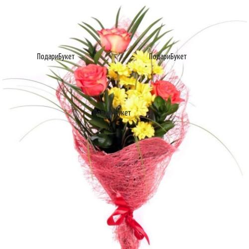 Send nice bouquet of roses and chrysanthemums to Sofia, Varna, Burgas