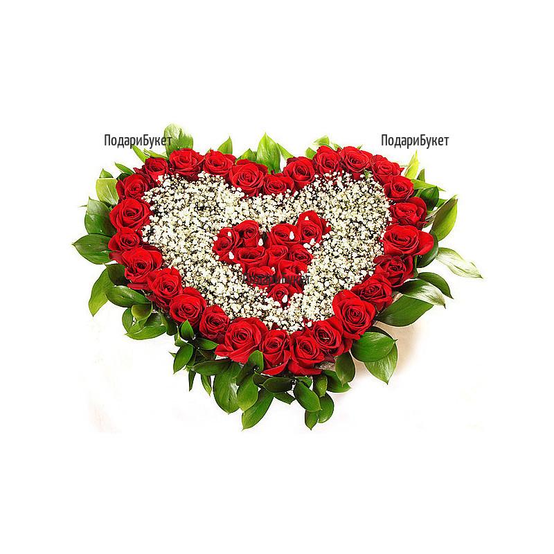 Доставка на романтично сърце от червени рози в София, Варна, Бургас