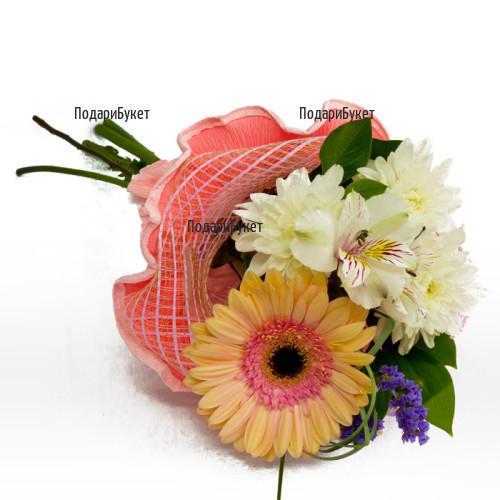 Доставка на красив букет от цветя и свежи зеленини