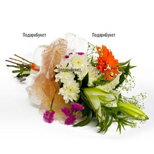 Доставка на букет от лилиуми и хризантеми