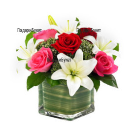 Send arrangement with roses and lilies to Sofia, Plovdiv, Varna